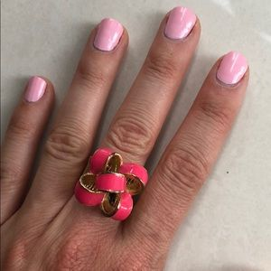 Lilly Pulitzer pink and gold bow elastic ring